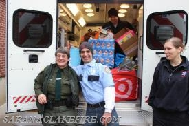 A full SLVRS ambulance loaded to deliver toys from the SLVFD toy drive to the Holiday Helpers.