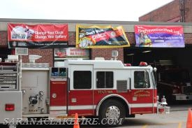 Fire Prevention Week banners adorn the SLVFD's second and third truck bays.