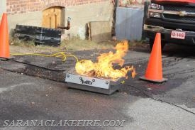 "The ""Bullex"" Live Fire training prop.  The public was able to experience putting out a live fire with fire extinguisher."