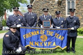 Standing L-R Jim Stinson, Doug Peck, Ed Woodard, Ken McLaughlin, Trevor Keough.  Kneeling SLVFD Lieutenant Don Jones.