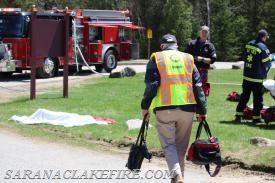 Franklin County Coroner Ronald Keough arrives on scene of mock DWI crash.
