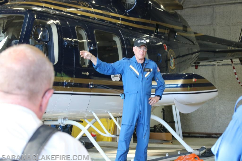 North Country Life Flight Chief Flight Nurse Chuck Pandolph provides instruction.