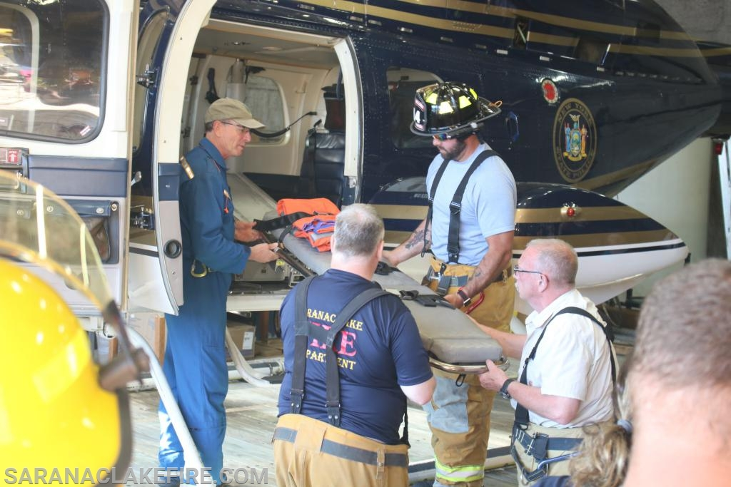 First Responders practiced dry runs loading and unloading with the helicopter not running prior to going live.