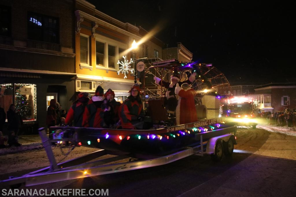Marine 1 with Santa Claus,  Mrs. Claus and Elves... Saranac Lake Volunteer  Fire Department
