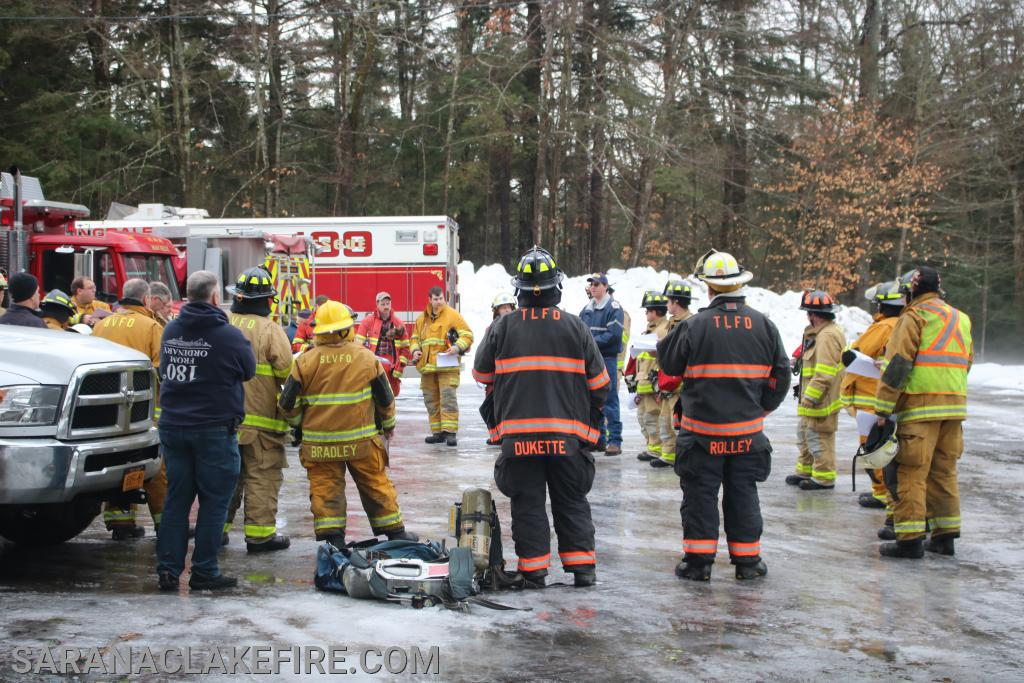 Firefighters from the Saranac Lake, Lake Placid, Tupper Lake, Paul Smiths-Gabriels, and Bloomindale Volunteer Fire Departments gather for instruction for RIT training.