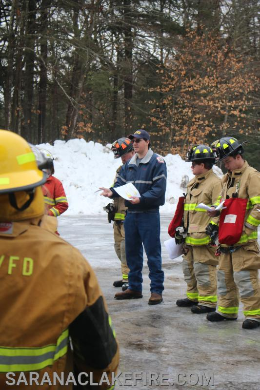 SLVFD Assistant Chief Doug Peck addresses a group of area firefighters attending todays RIT training.