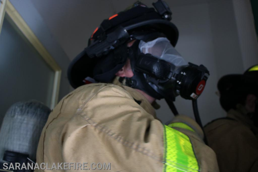"""All of todays training was done """"blacked out"""" the wax paper blinds the firefighter just as smoke in a real fire would do."""