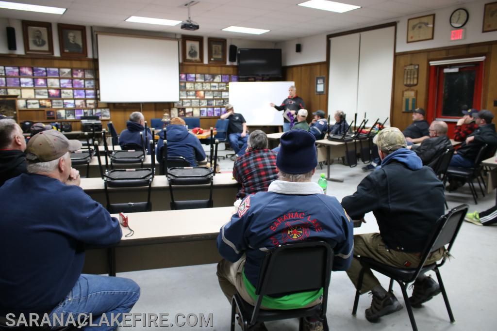 SLVFD firefighters attend classroom portion of bail out training...