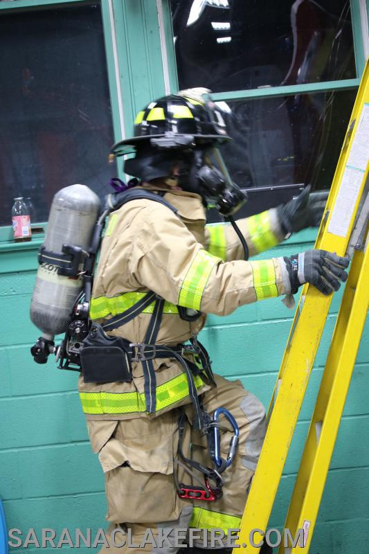 """Crawl-Walk-Run""  firefighters are expected to be able to bail out with full protective gear including breathing air."
