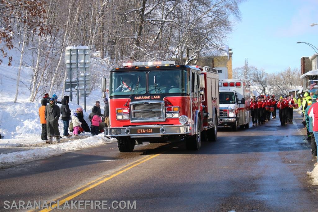 The SLVFD on Parade during the  2020 Saranac Lake Winter Carnival.