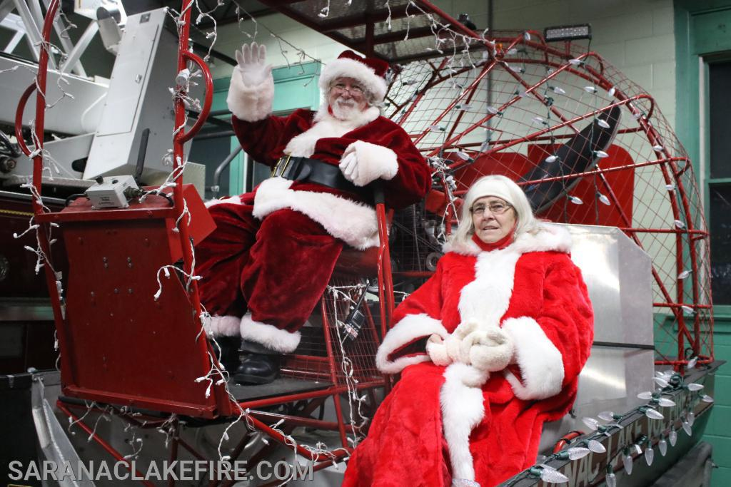 On Friday night Santa and Mrs. Claus get settled into the new SLVFD Sleigh...
