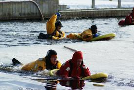 Emergency Personnel from throughout the north country receive surface ice rescue training hosted by Lifeguard Systems and the SLVFD.