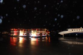 SLVFD vehicles line up during airport training 10/24/2014